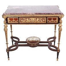 Louis XVI Style Bronze Center Table Desk in Adam Weisweiler Manner with Marble
