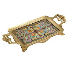 """French """"Japonisme"""" Bronze and Hand Painted Porcelain Tray Platter"""