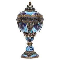 Rare Austro-Hungarian Silver, Enamel and Gem-Set Lidded Goblet Vase