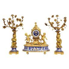 Exquisite French Ormolu Bronze and Blue Porcelain Mounted Three-Piece Clock Set