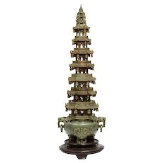Monumental Chinese Serpentine Carved Pagoda Censer, Early 20th Century
