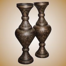 Monumental Pair of Islamic Silver Inlaid Palace Vases with Arabic Calligraphy
