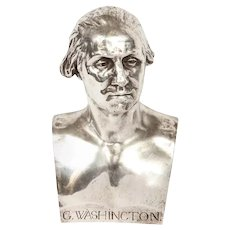 An Extremley Rare Silvered Metal Bust of George Washington by F. Barbedienne