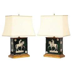 Fantastic Pair of Mid-Century Italian Green Molded Glass Lamps, Fornasetti