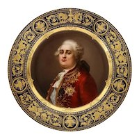"Rare and Exceptional Royal Vienna Porcelain Plate of ""King Louis XVI"" by Wagner"