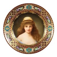 "A Rare and Exceptional Royal Vienna Porcelain Plate of ""Nadia"" by Wagner"