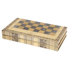 Rare English Silver-Gilt Book-Form Chess and Backgammon Game Board, circa 1976