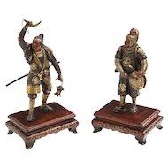 Very Fine Pair of Japanese Bronze Figures by Miyao Eisuke, Meiji Period