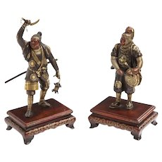 Very Fine Pair of Japanese Bronze Figures by Miyao Eisuke, Meiji Period