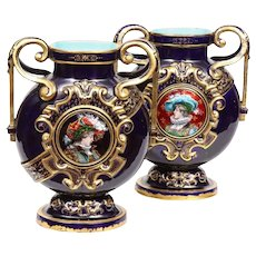 Rare Pair of Emile Galle Cobalt Blue Porcelain & Limoges Enamel Portrait Vases