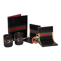Rare Vintage Gucci 8 Piece Executive Italian Leather Desk Set Accessories, 1979