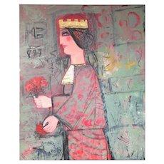 "Nasser Ovissi, 'Iranian, Born 1934' ""Queen Atosa"" Gold Oil on Canvas Painting"