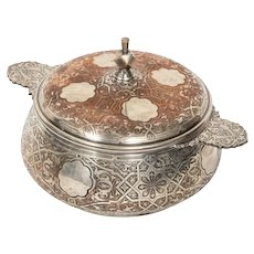 Christofle Paris, an Unusual French Islamic Style Silvered Covered Dish