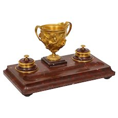 Large Rouge Marble and Gilt Bronze Inkwell Encrier, Attributed to Barbedienne