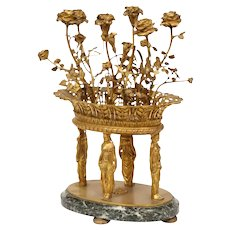 French Egyptian Revival Gilt Bronze and Marble Candelabra Centerpiece