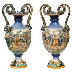 Imposing Pair of Large Antique Italian Majolica Snake-Handled Vases
