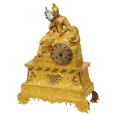 Exquisite French Charles X-Ormolu Jeweled Chinoiserie Figural Table Clock