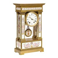 A Rare and Exquisite French Ormolu and Porcelain Clock, attributed to Deniere
