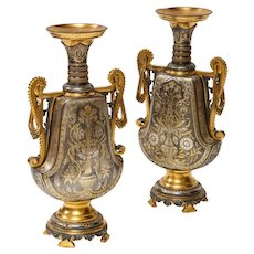 """Christofle & Cie, A Pair of French Gilt and Silvered Bronze """"Persian"""" Vases"""