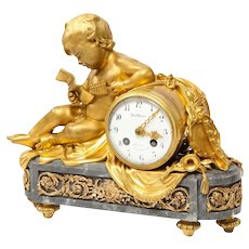 French Ormolu-Mounted Bleu Turquin Marble Figural Clock by Maison Mottheau