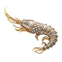 Tiffany & Co. 18K Gold and 925 Silver Lobster Shrimp Pin / Brooch with Emerald