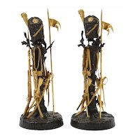 """Unusual Pair of French Ormolu and Patinated Bronze """"Military"""" Candlesticks"""