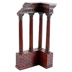 Antique Italian Grand Tour Mahogany Wood & Bronze Roman Ruins Neoclassical Model