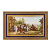 A Large French Cobalt Blue Sevres Porcelain Rectangular Plaque by Maglin