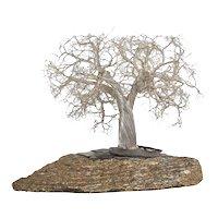 A Modern Italian Silver Realistic Bonsai Tree Mounted on a Lava Rock