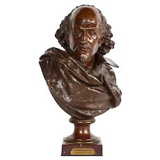 Rare French Bronze Bust of William Shakespeare by Carrier Belleuse and Pinedo