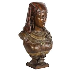 An Exquisite French Multi-Patinated Orientalist Bronze Bust of Saida, by Rimbez