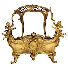 Exceptional Napoleon III French Ormolu Fireplace Log Cradle Holder, Centerpiece