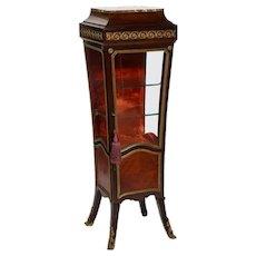 French Louis XV Style Gilt Mounted Kingwood Pedestal Vitrine Cabinet, circa 1880