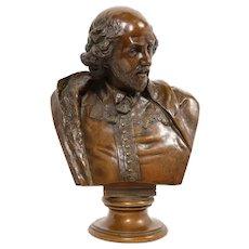 German Bronze Bust of William Shakespeare by Aktien-Gesellschaft Gladenbeck