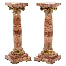 Pair of Exquisite French Ormolu Mounted Jasper Columns Pedestals, circa 1870