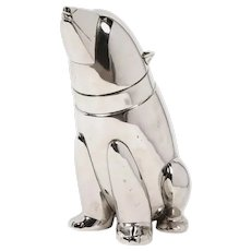 Vintage Silver Plated Cocktail Shaker in the Form of a Polar Bear