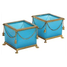 Exquisite Pair of French Ormolu Mounted Turquoise Blue Opaline Glass Jardinières