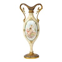 French Ormolu-Mounted White Sevres Porcelain and Champlevé Enamel Vase