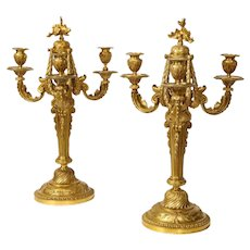 Very Fine and Elegant Pair of French Louis XV Style Ormolu Bronze Candelabra