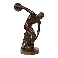 The Discobolus of Myron, Exceptional Italian Bronze Sculpture of Discus Thrower