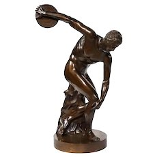The Discobolus of Myron, Exceptional Italian Bronze Sculpture of Discus Thrower