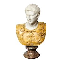 A Museum Quality Carrara and Sienna Marble Bust of Julius Augustus Caesar, 1850