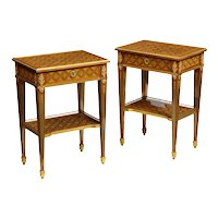 An Exceptional Pair of French Ormolu-Mounted Parquetry and Marquetry Side Tables