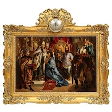 """Unknown (Polish, 19th Century) Exceptional Quality Oil on Tin Painting """"Coronation"""" 19th Century"""