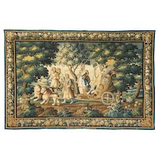 """Important French Abusson Allegorical Tapestry of Summer """"Four Seasons"""" Signed"""