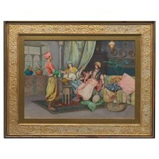 Paolo Folchi Orientalist Watercolor Females and Servant