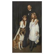 "Antonio De La Gandara (French 1862-1917) ""Family Portrait"" Canvas Oil Painting"