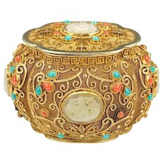 Chinese Sterling Silver Filigree Covered Box w/ Carved Jade Coral Turquoise