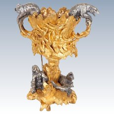 Important Ormolu and Silvered Bronze Figural Wine Cooler Possibly Russian
