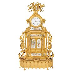 Napoleon III French Ormolu Bronze Opaline-Mounted Clock for Ottoman Turkish
